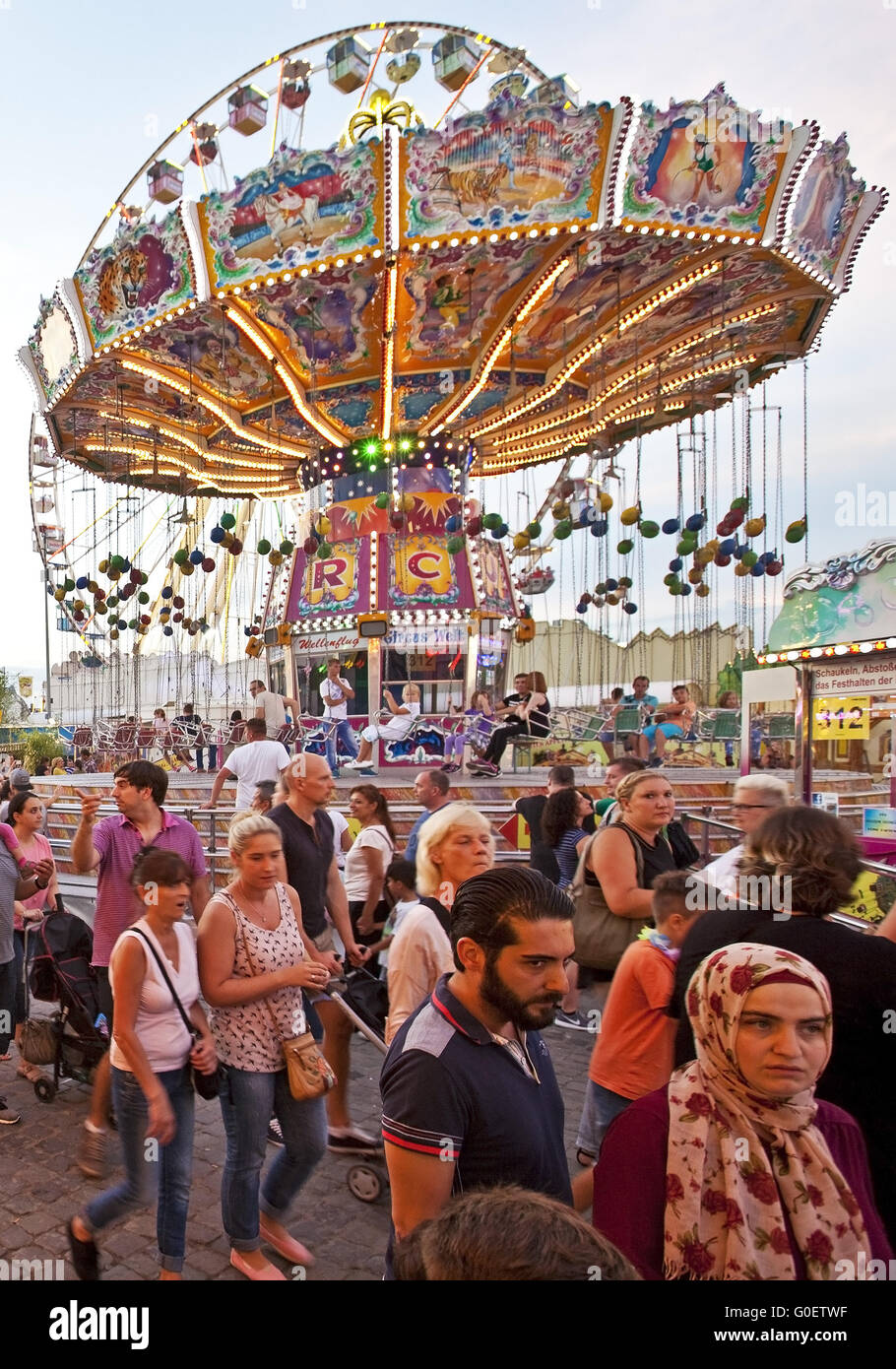Many People at Cranger Kirmes fair, Herne, Germany - Stock Image