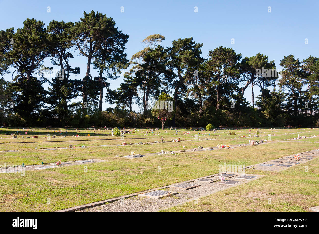 Graves at Ruru Lawn Cemetery, Ruru Road, Bromley, Christchurch, Canterbury, New Zealand - Stock Image