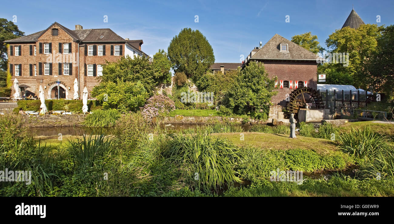 river Schwalm with mill and castle in Brueggen - Stock Image