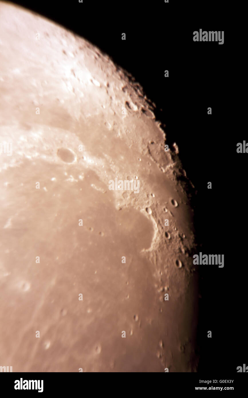 Telescope View of the Moon - Stock Image