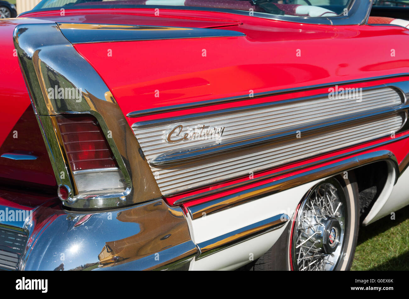 Rear wing of 1958 Buick Century at National Hot Rod Show, A&P showground, Wigram, Christchurch, Canterbury, - Stock Image