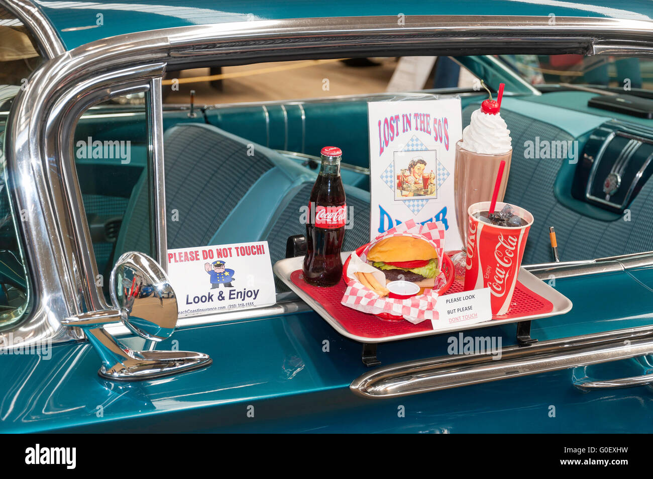 Diner meal tray on door of Chev Impala National Hot Rod Show Au0026P showground Wigram Christchurch Canterbury New Zealand & Diner meal tray on door of Chev Impala National Hot Rod Show Au0026P ...