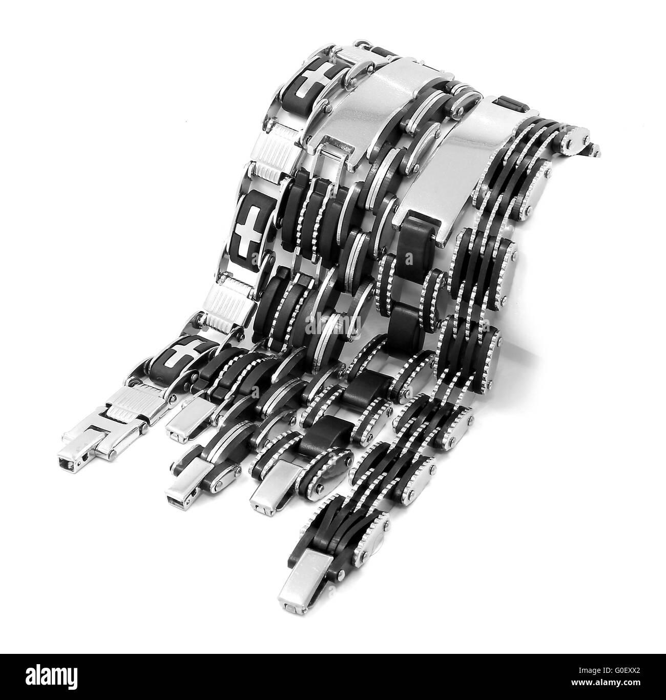 Men's Bracelet stainless steel - Stock Image