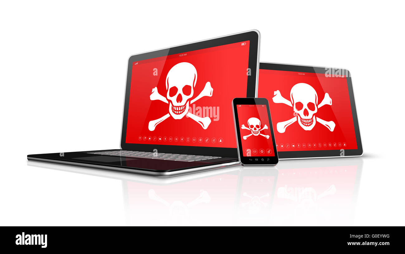 Laptop tablet pc and smartphone with pirate symbols on screen. Hacking concept - Stock Image