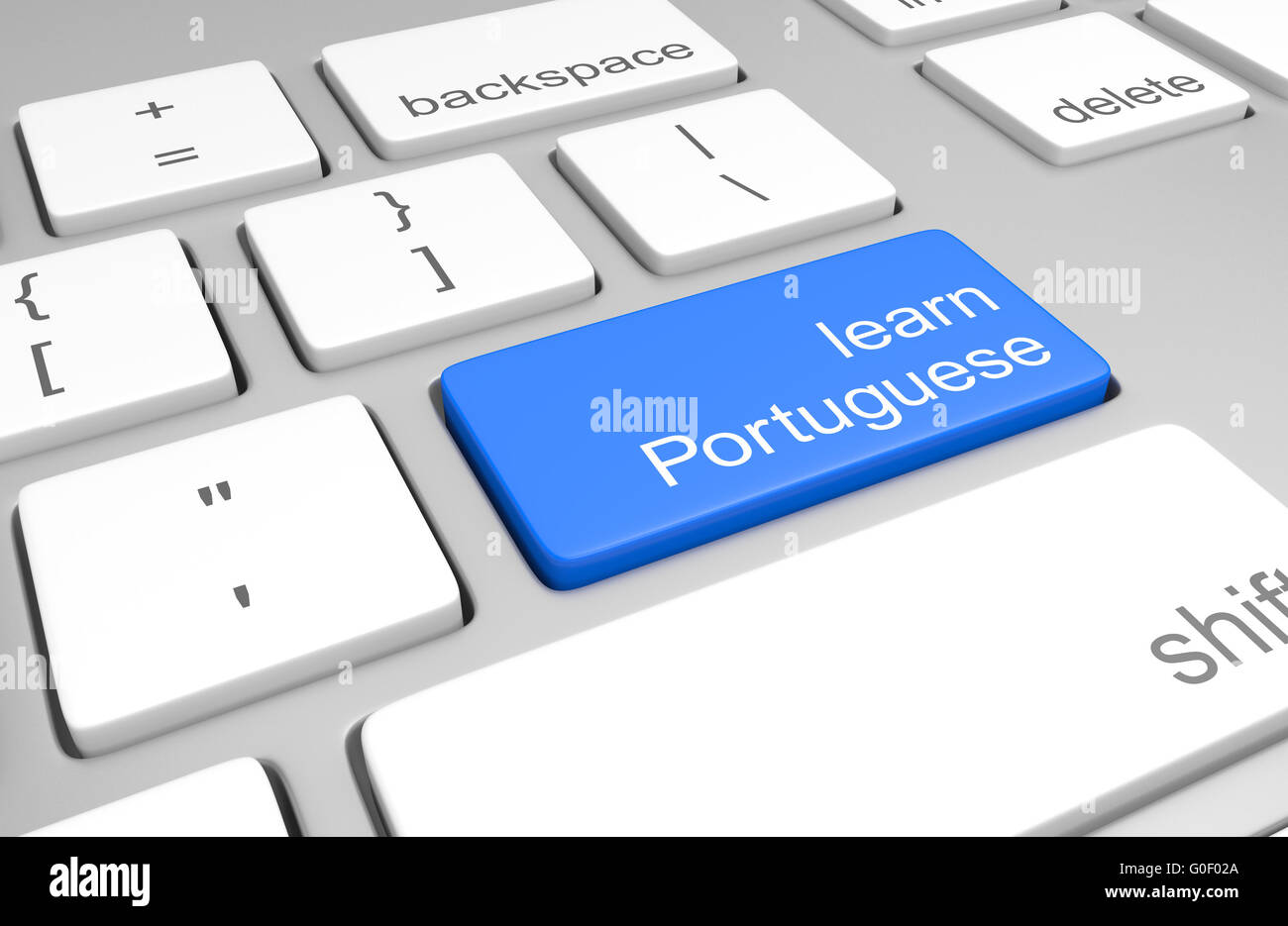Learn Portuguese key on a computer keyboard for online classes to speak, read, and write the language, 3D rendering Stock Photo