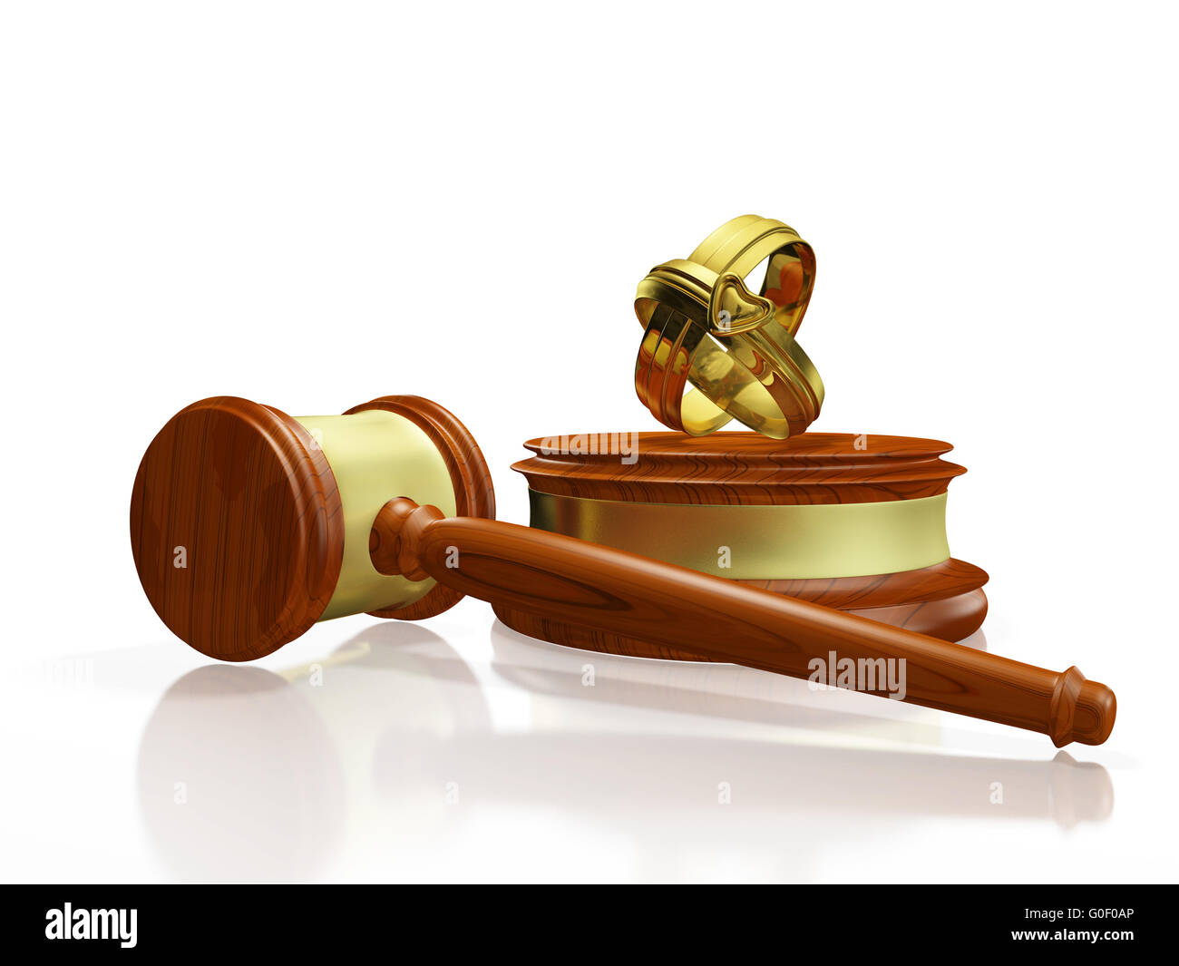 Divorce Concept Gavel and Wedding Bands - Stock Image