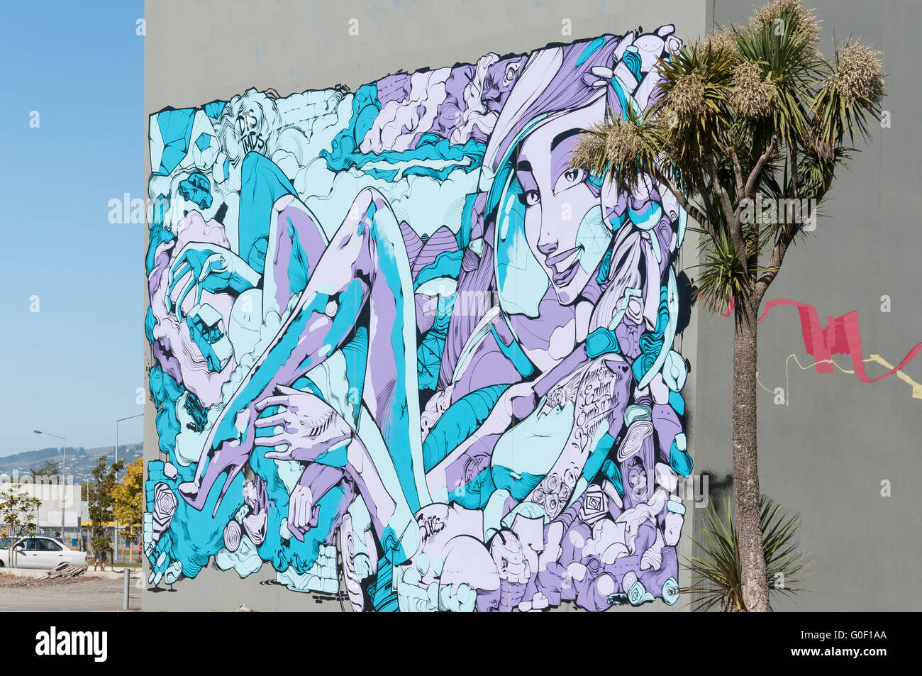 'A new beginning' mural on wall, Hereford Street, Christchurch, Canterbury, New Zealand - Stock Image