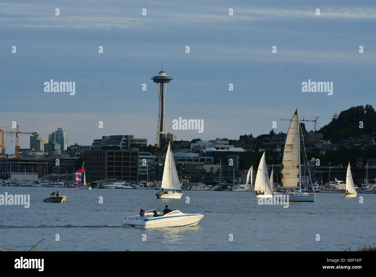 A day on Lake Union in Seattle, Washington - Stock Image