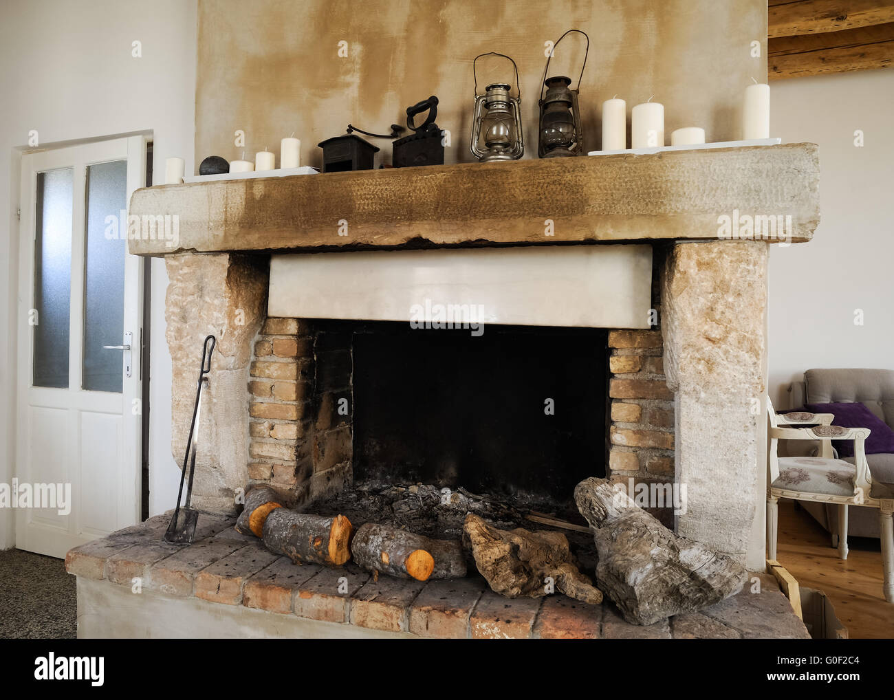 Fireplace In Old House   Stock Image