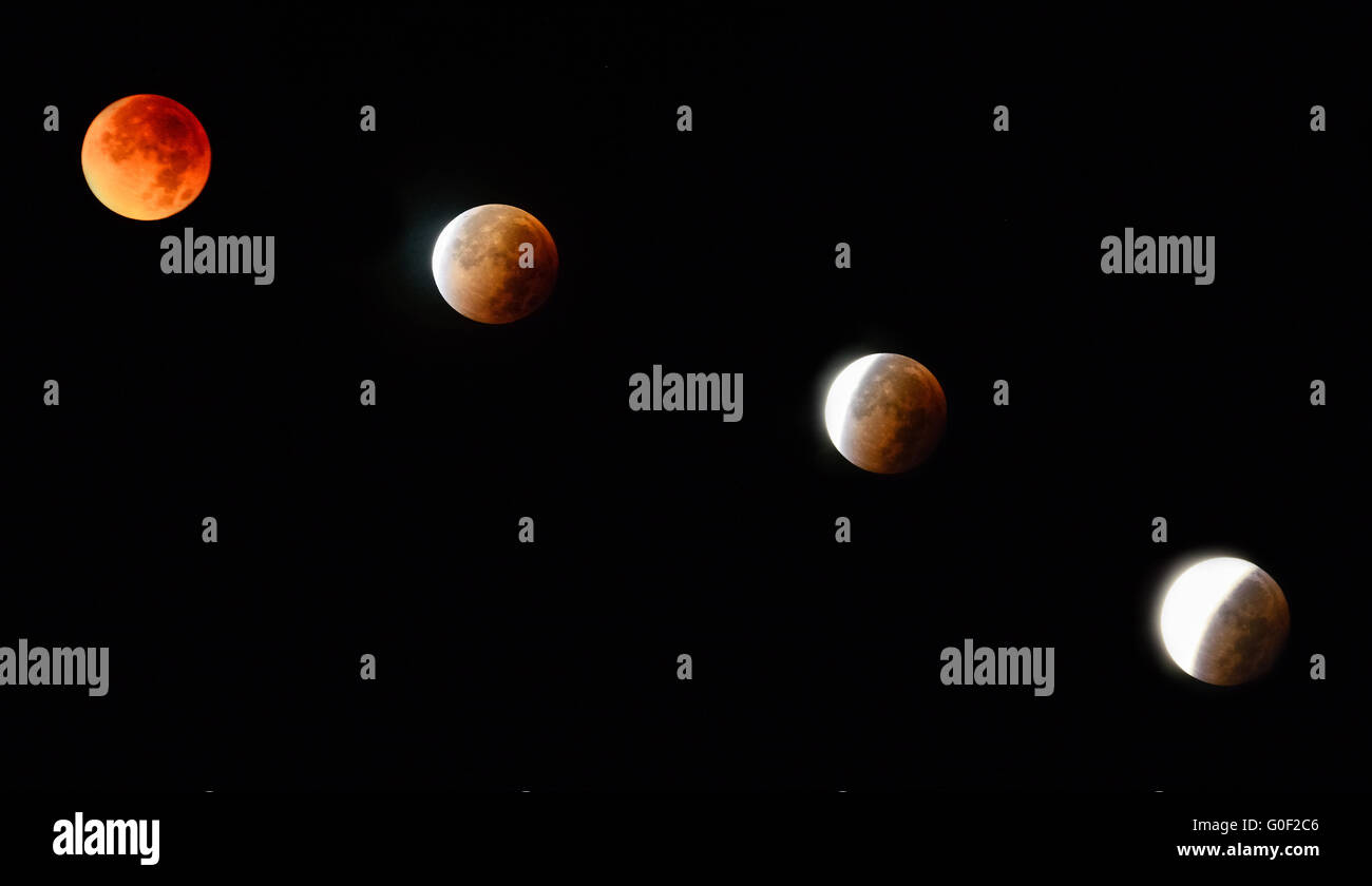Phases of the lunar eclipse - Stock Image