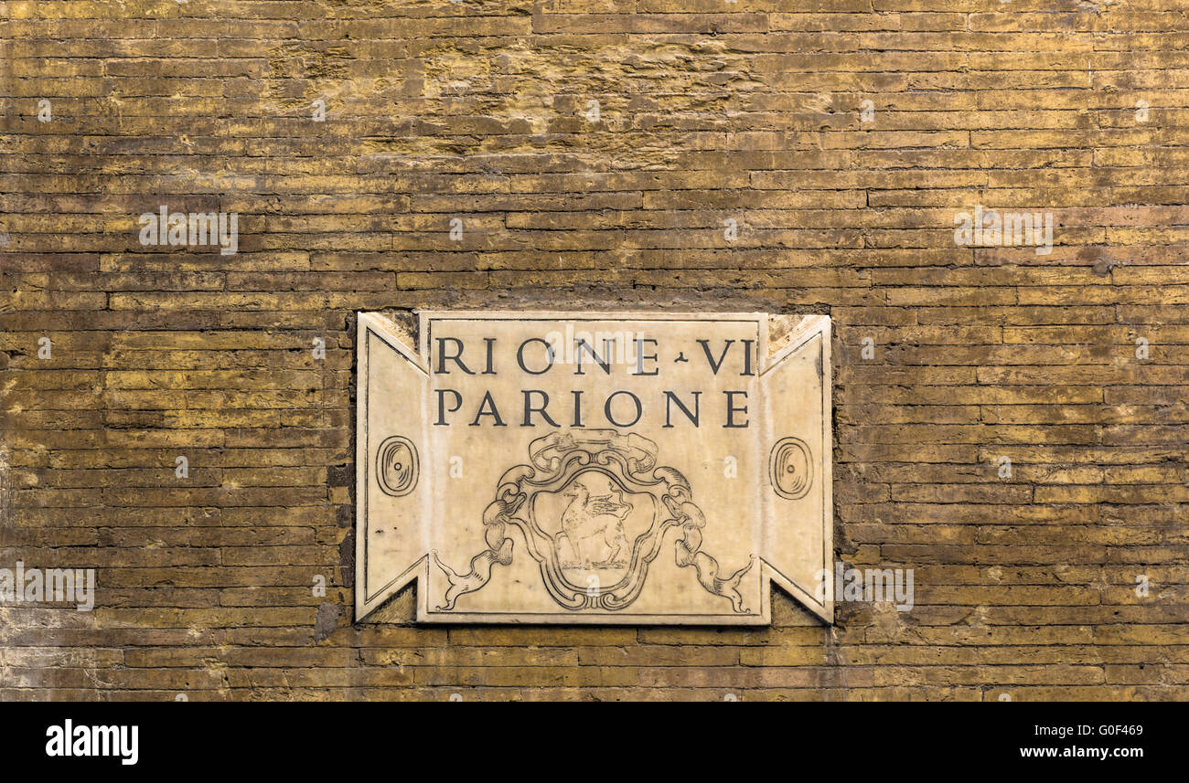 Ancient marble plate in Rome - Stock Image