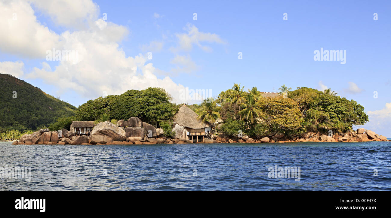 Island and hotel Chauve Souris Club in the Indian Ocean Stock Photo
