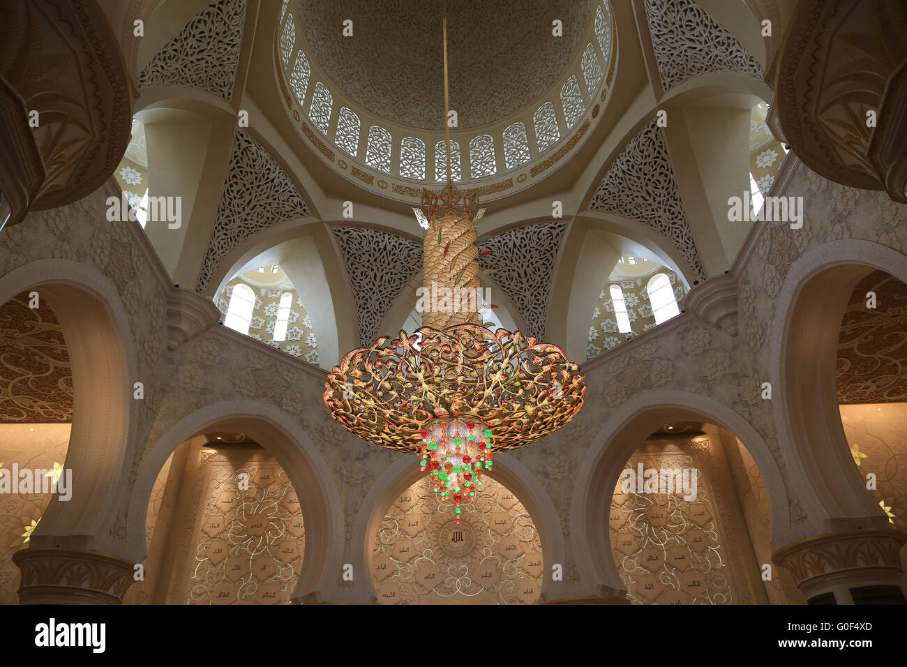 Glimmering Chandelier in the Sheikh Fayed Mosque in Abu Dhabi - Stock Image