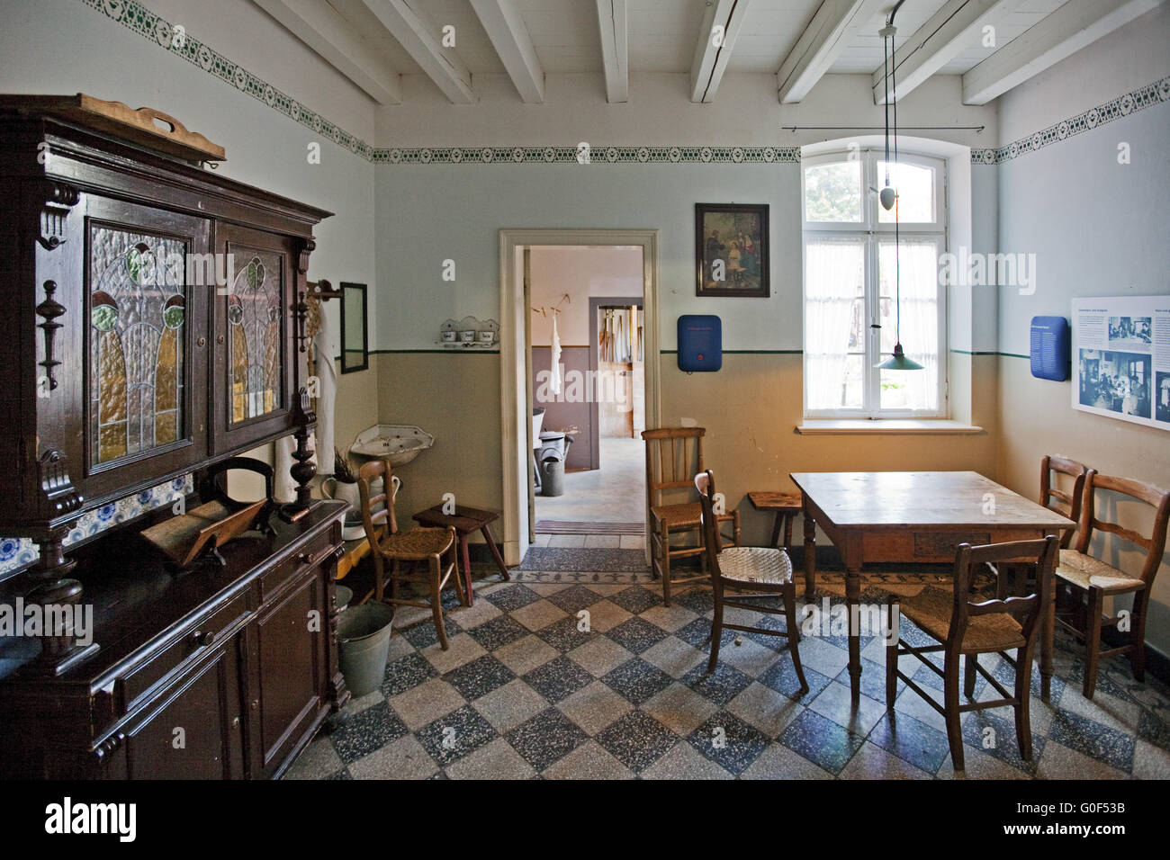 Kitchen Of A Workeru0027s Apartment In 1920 In The Textile Museum Bocholt,  Muensterland, Germany