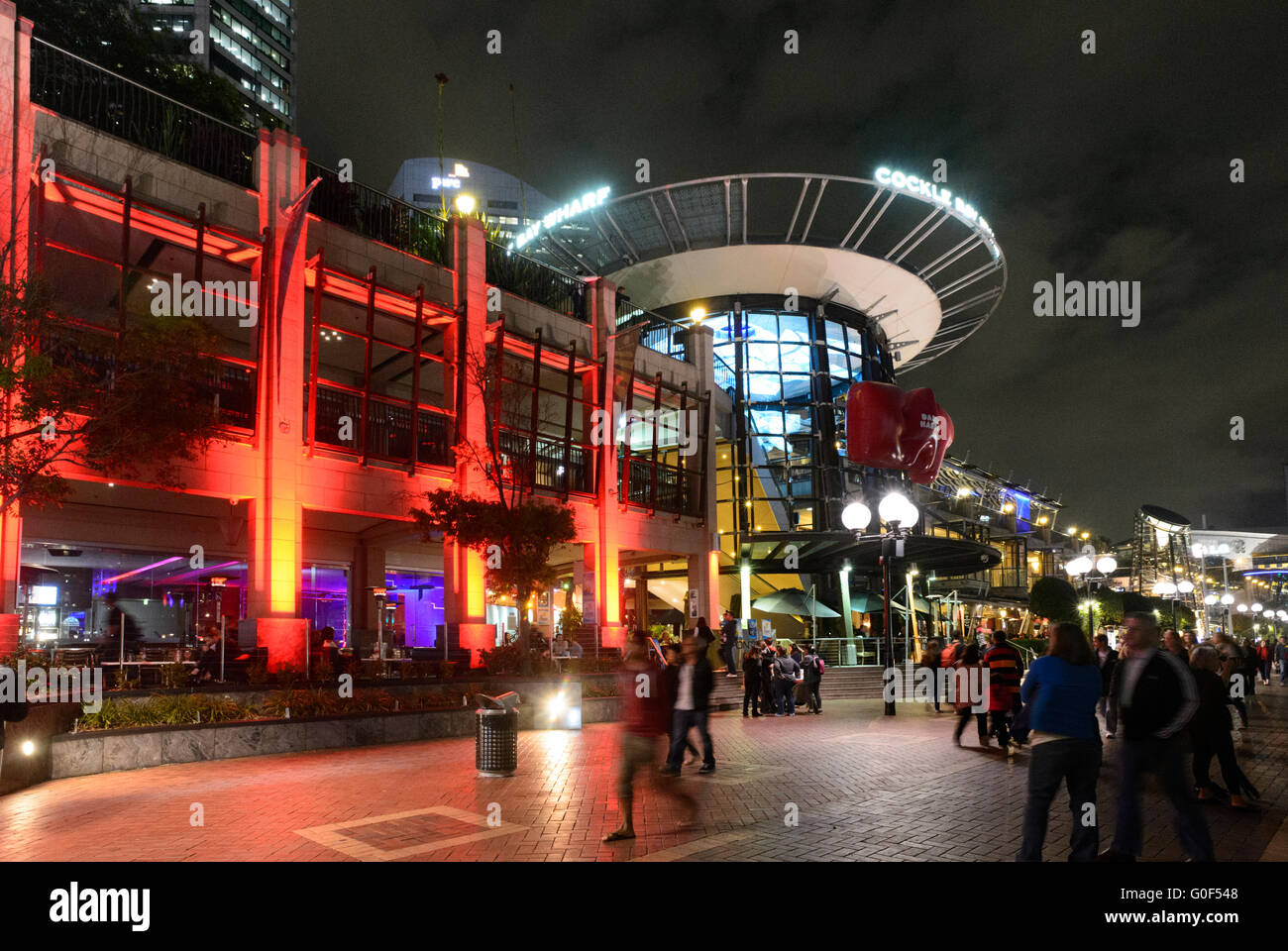 Cockle Bay Wharf at night, Darling Harbour, Sydney, New South Wales, Australia - Stock Image
