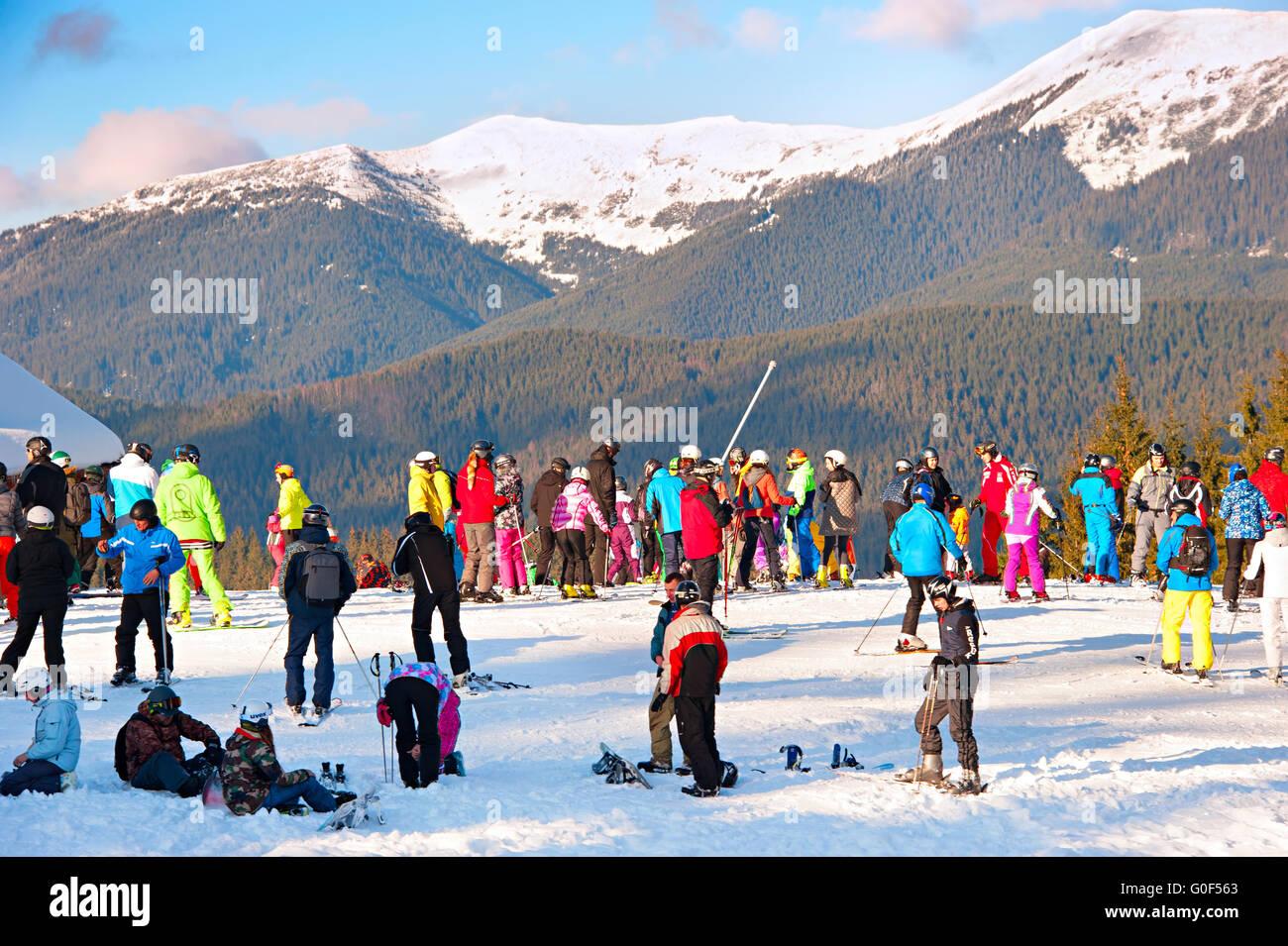 People at ski resort - Stock Image