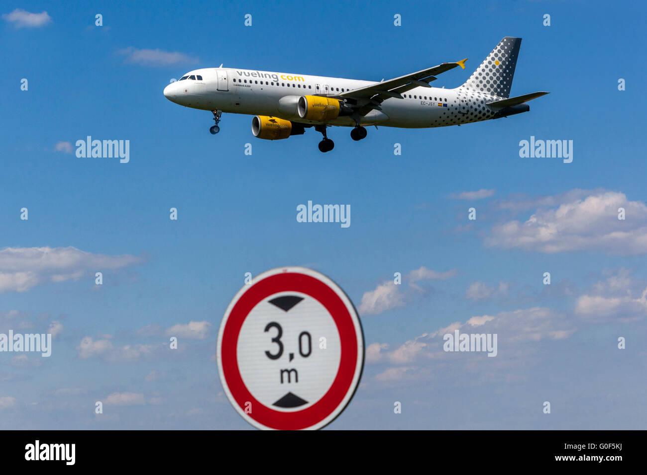 Plane Airbus A320 Vueling approaching for a landing, Prague, Czech Republic - Stock Image