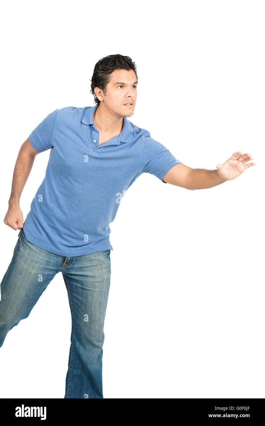 Hispanic Male Reaching Open Hand Object Offscreen - Stock Image