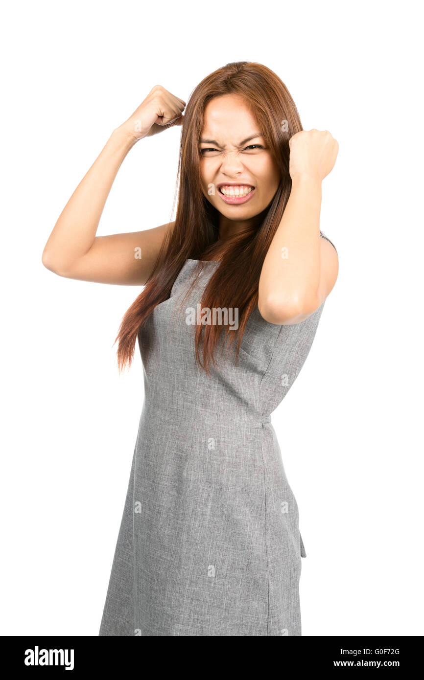 Disappointed Asian Girl Temper Tantrum Fists Ball - Stock Image