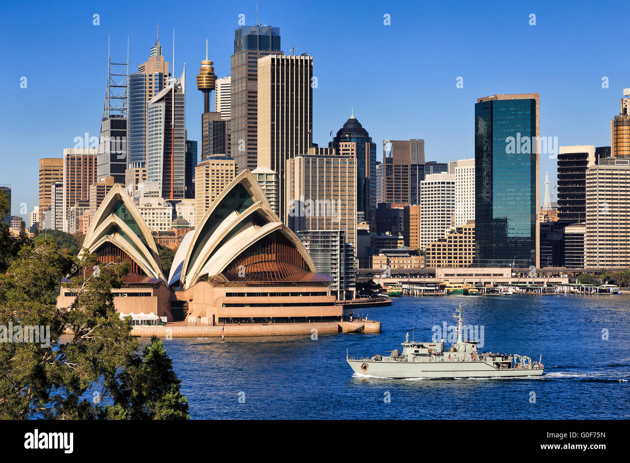 Sydney city landmarks of CBD as seen across harbour from Kirribilli. High rise towers of office and infrastructure - Stock Image