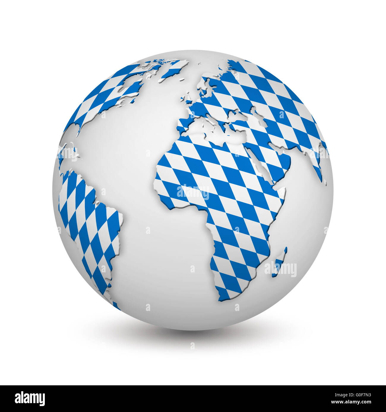 earth with Bavarian flag as a symbol for the Oktoberfest - Stock Image