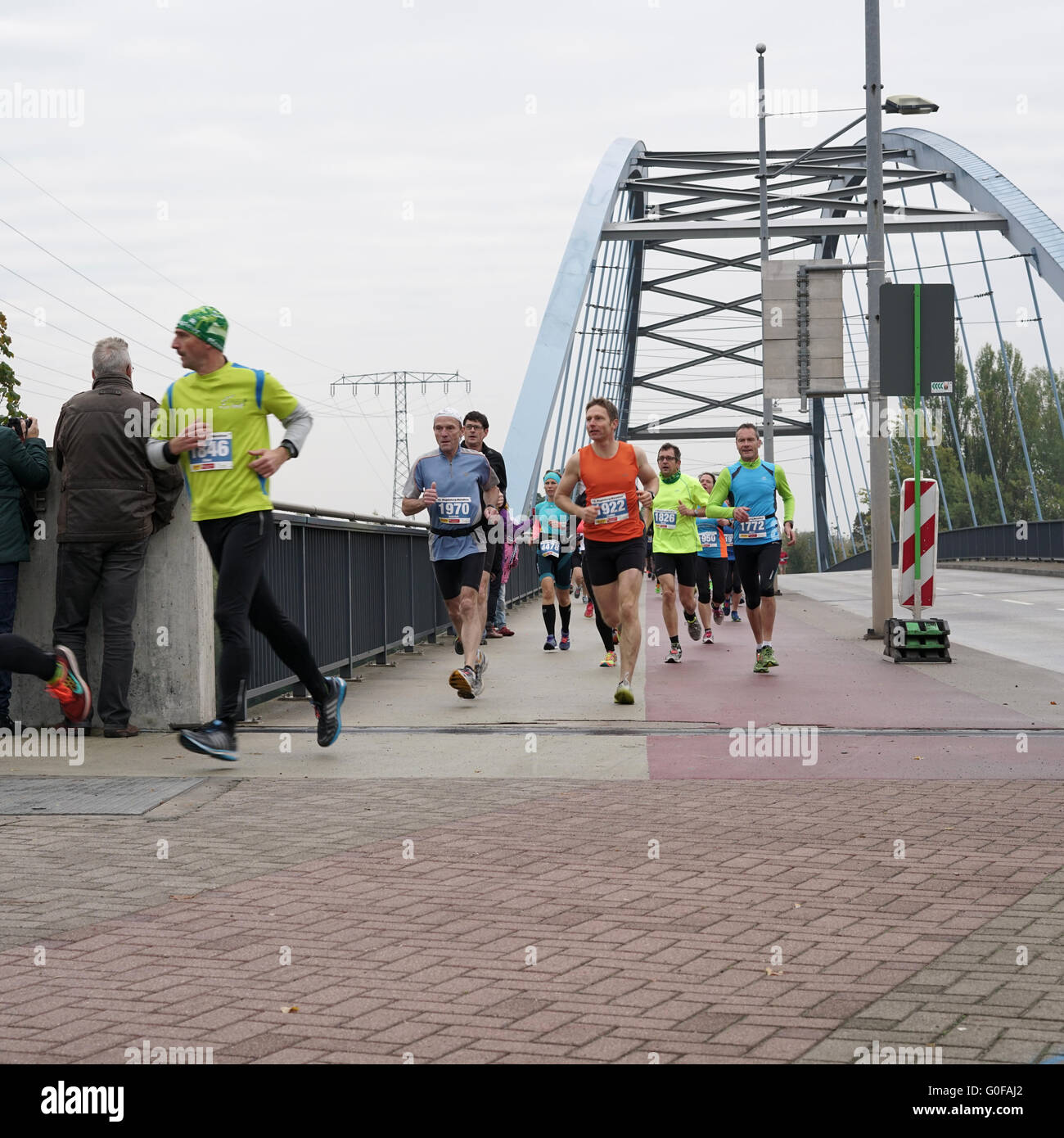 athletes at the 12th Magdeburg Marathon - Stock Image