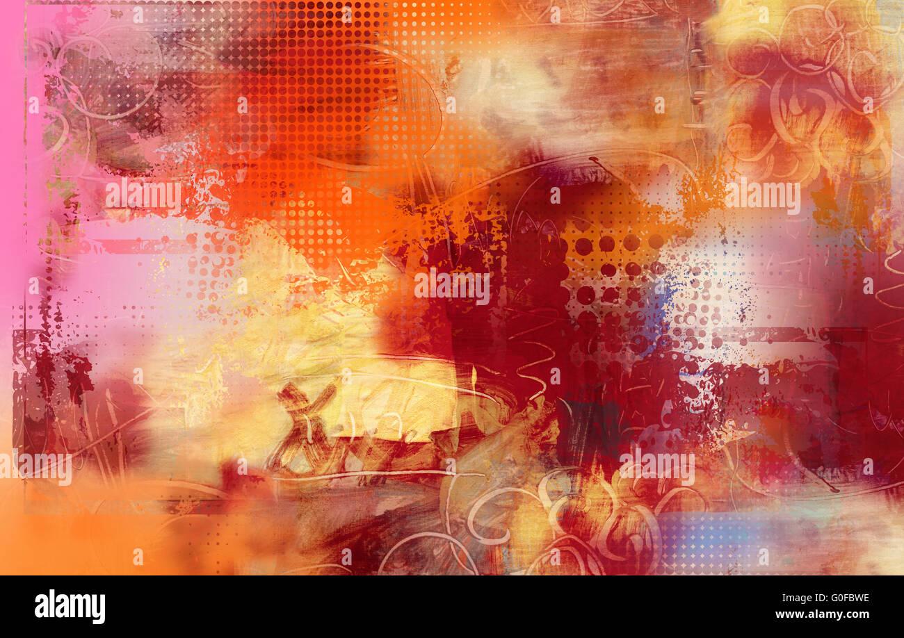abstract mixed media artwork - Stock Image