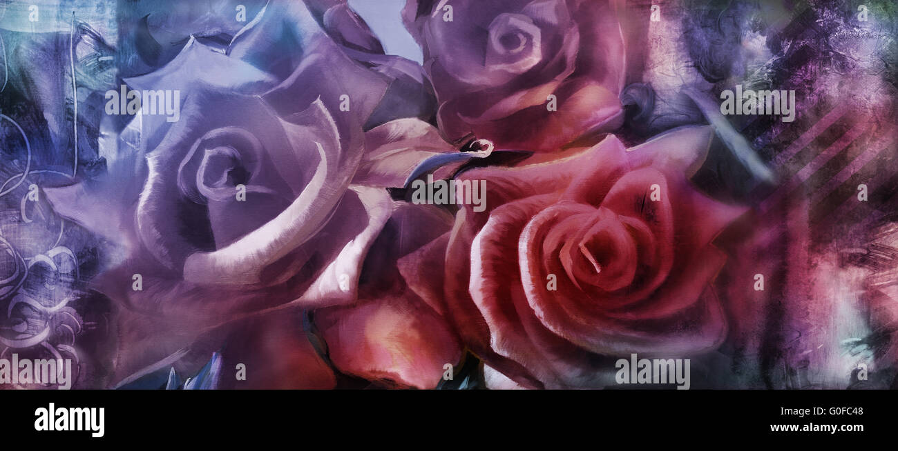 hand painted roses motif with textures added digitally Stock Photo