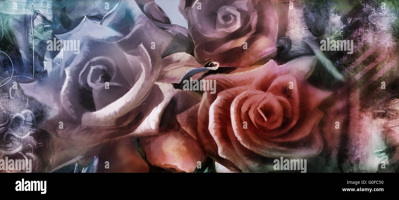 hand painted roses motif with textures added digitally - Stock Image