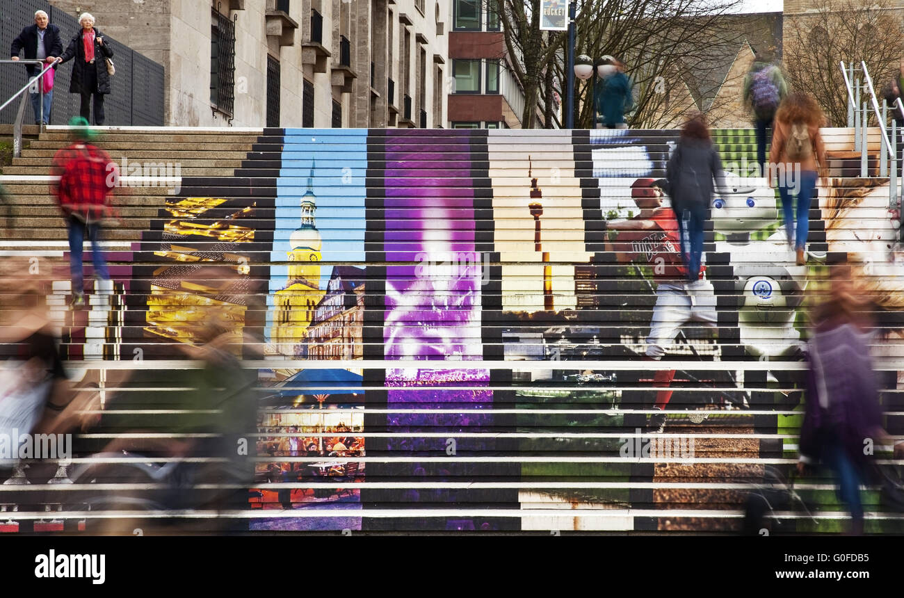 The Catherine staircase with printed photos, Dortmund, Ruhr area, Germany - Stock Image