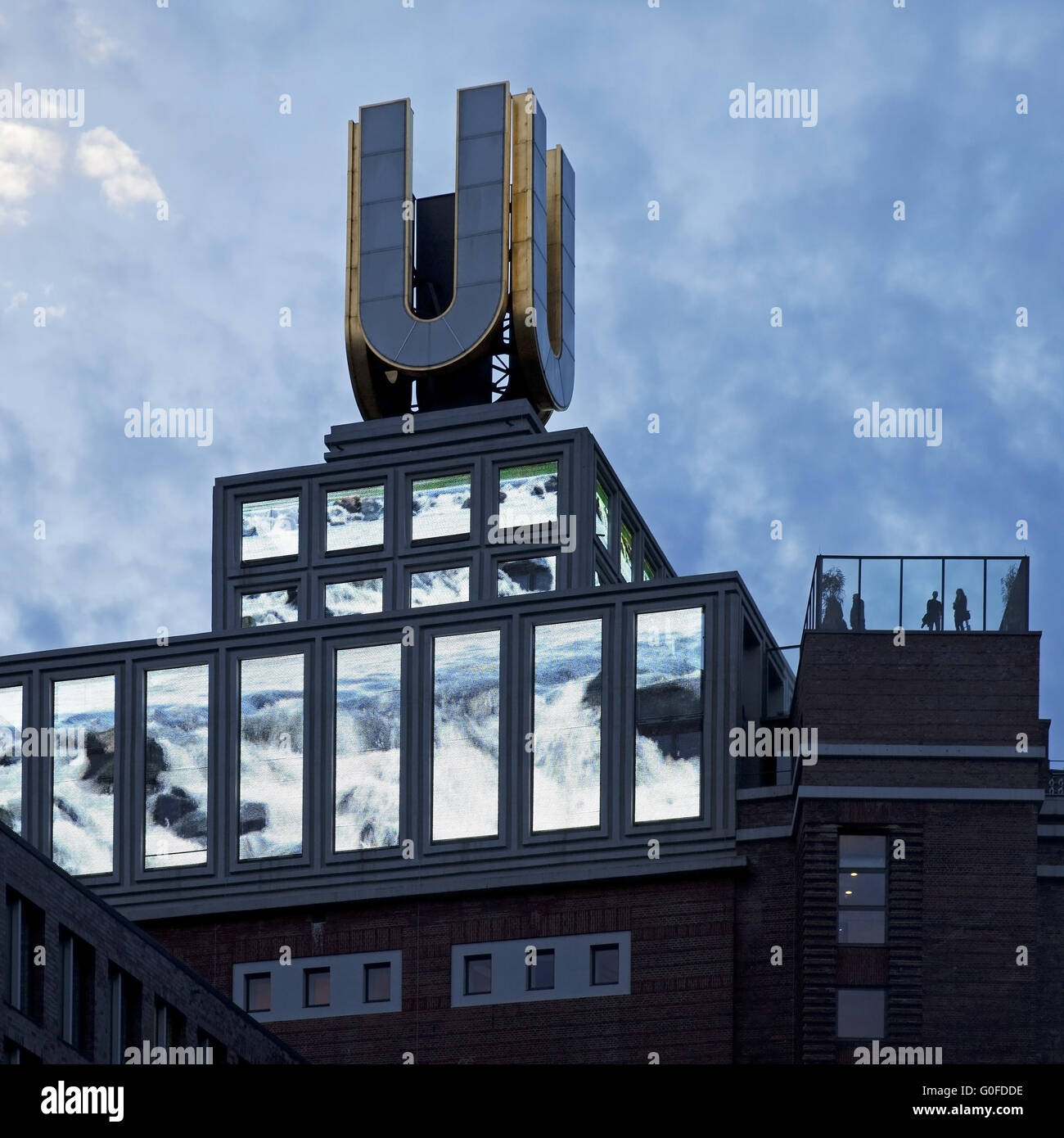 Dortmund U-Tower or Dortmund U with people on the roof terrace, Dortmund, Ruhr area, Germany - Stock Image