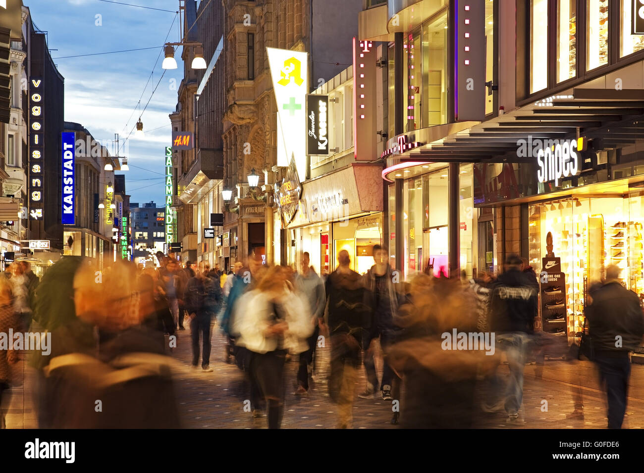 Rush hour on the Westenhellweg, Dortmund, Ruhr area, Germany Stock Photo