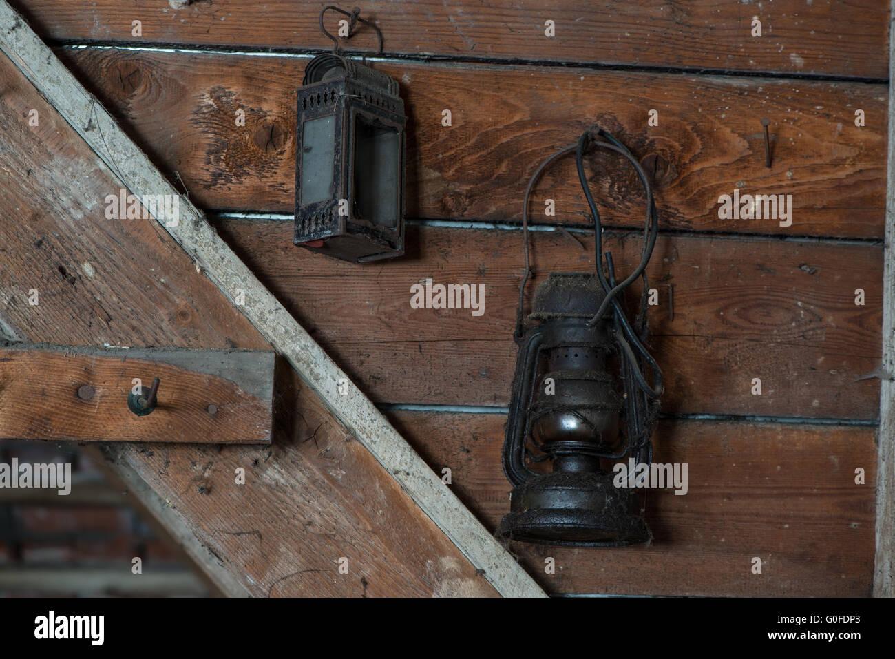 Kerosene Lamp on an Attic - Stock Image