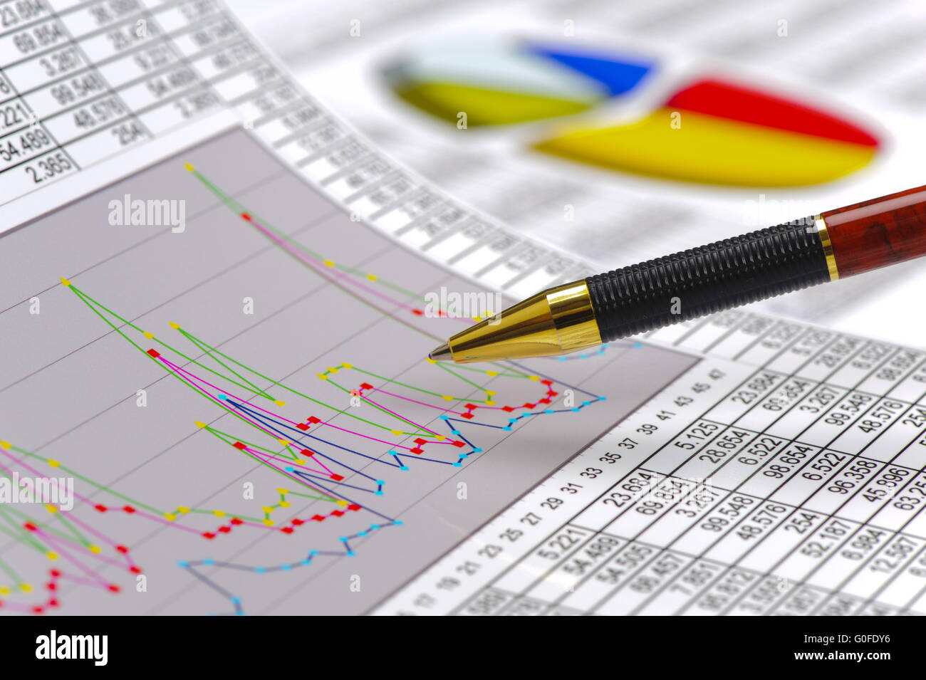 finance, chart and calculation at stock market - Stock Image