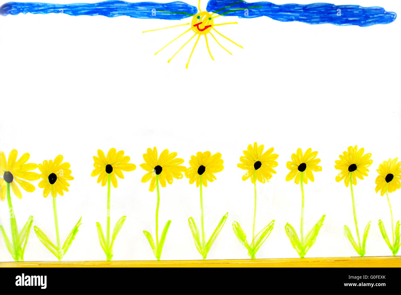 Childish Drawing Of Summer Yellow Flowers In Row Stock Photo