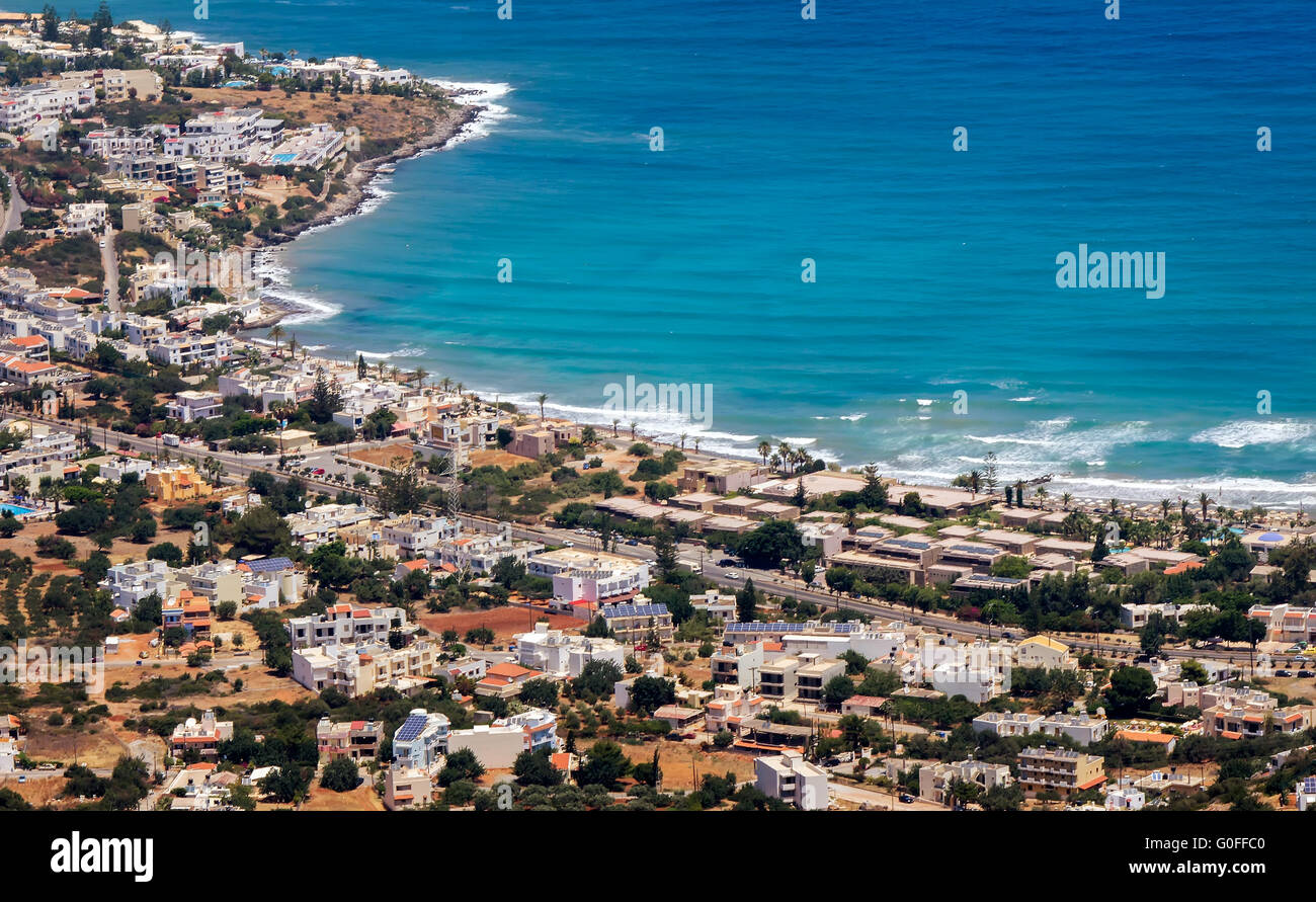 Resort on the coast of Crete, the view from the top. - Stock Image