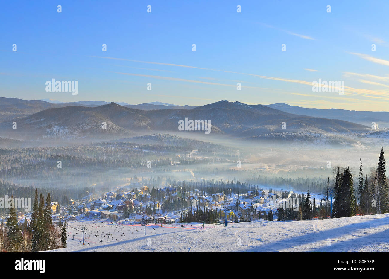 Winter morning in the mountains and ski resort Sheregesh - Stock Image