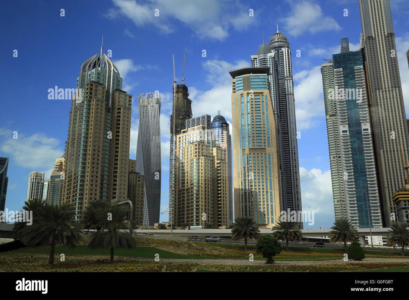 Dubai Marina with MeskTower and Cayan Tower - Stock Image