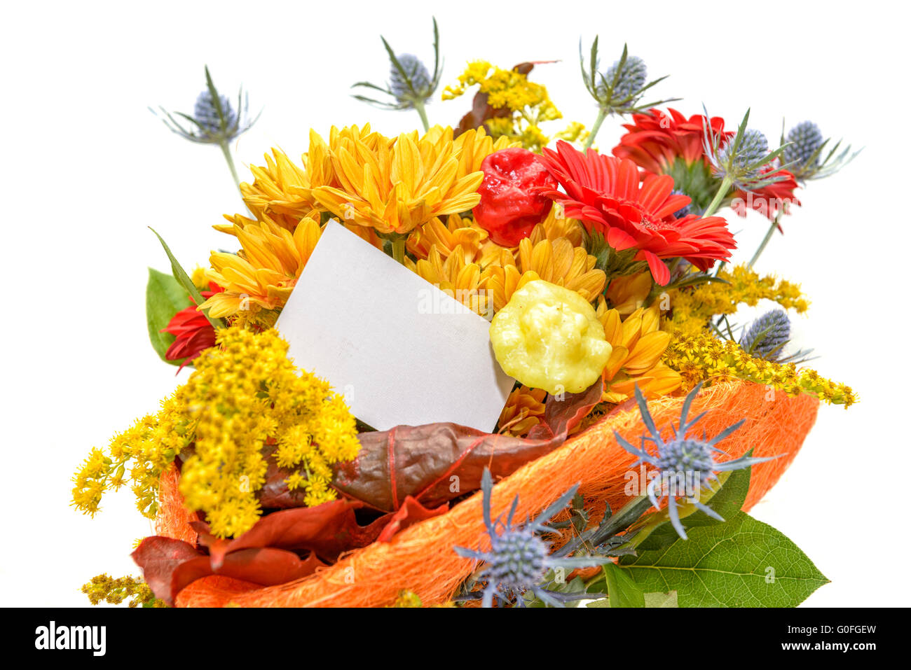Flower bouquet with blank gift card stock photo 103604449 alamy flower bouquet with blank gift card negle Gallery