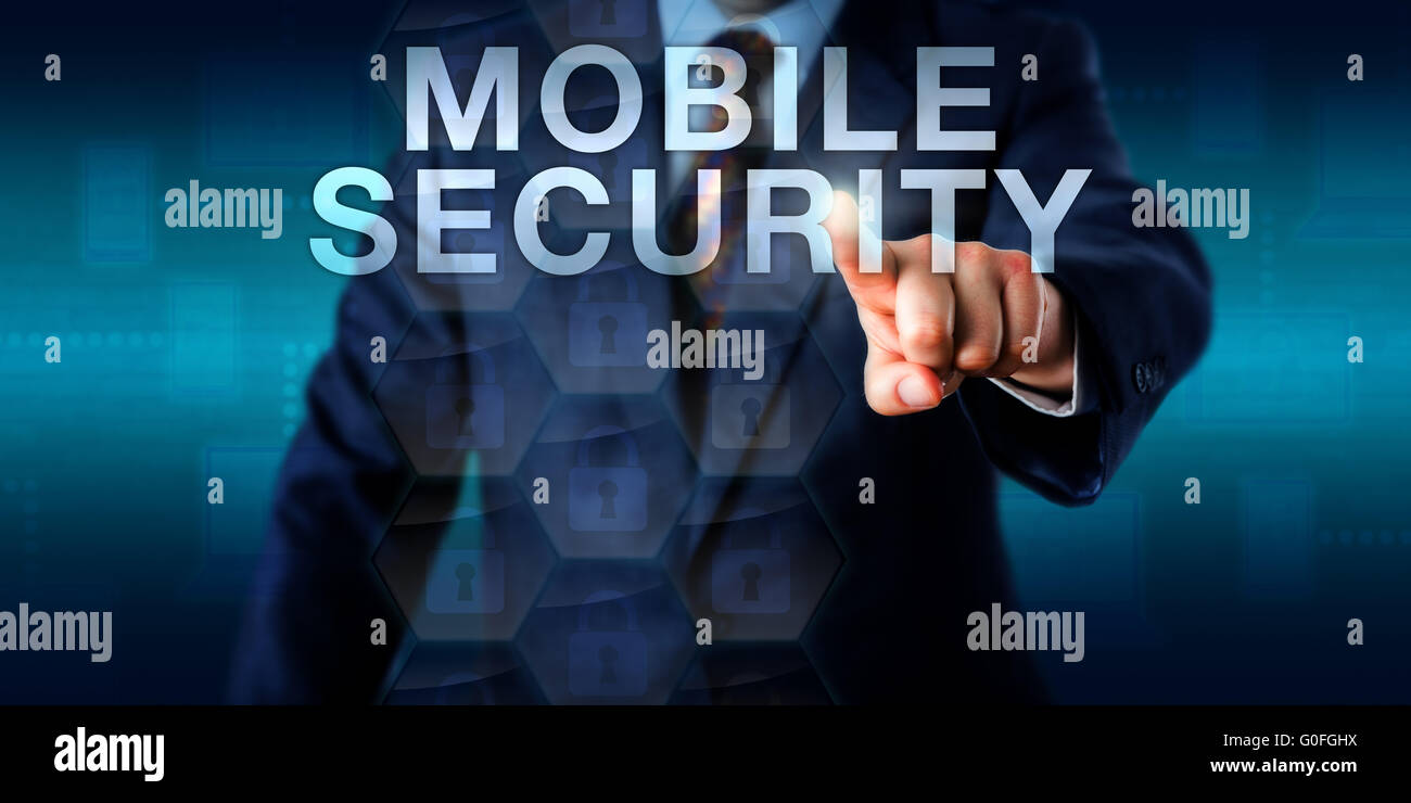 Supervisor Touching MOBILE SECURITY Onscreen - Stock Image