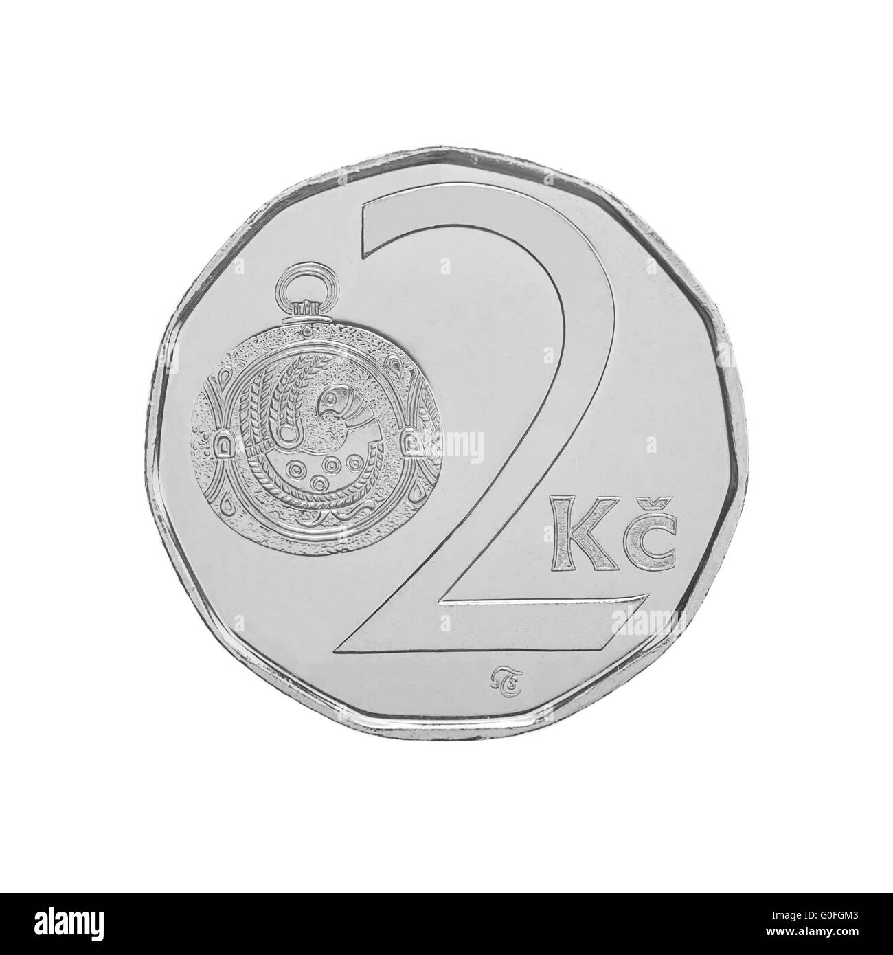Two Czech Crowns coin - Stock Image