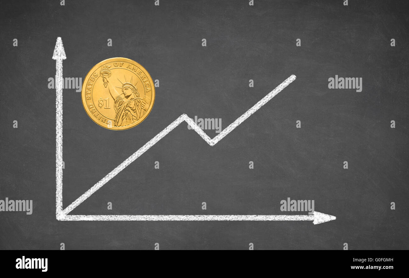 the dollar coin and financial graph - Stock Image