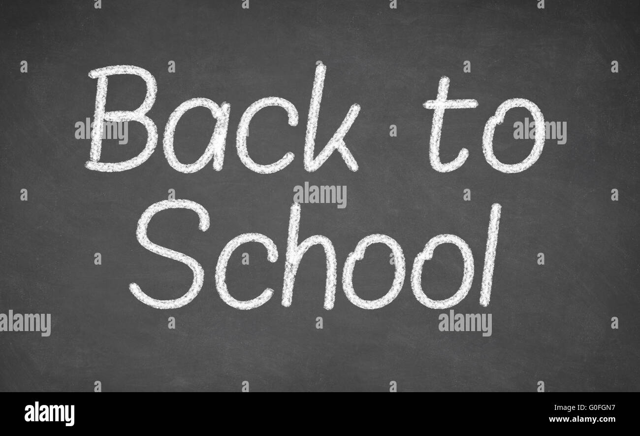 blackboard with back to school on background - Stock Image