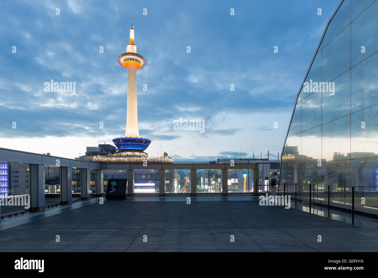 Dusk Lighted Kyoto Tower Blue Hour Evening Nobody - Stock Image
