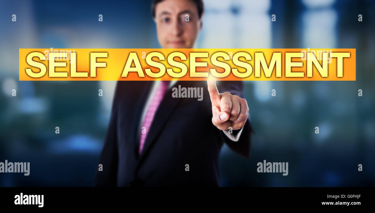 Happy Manager Pressing SELF ASSESSMENT - Stock Image