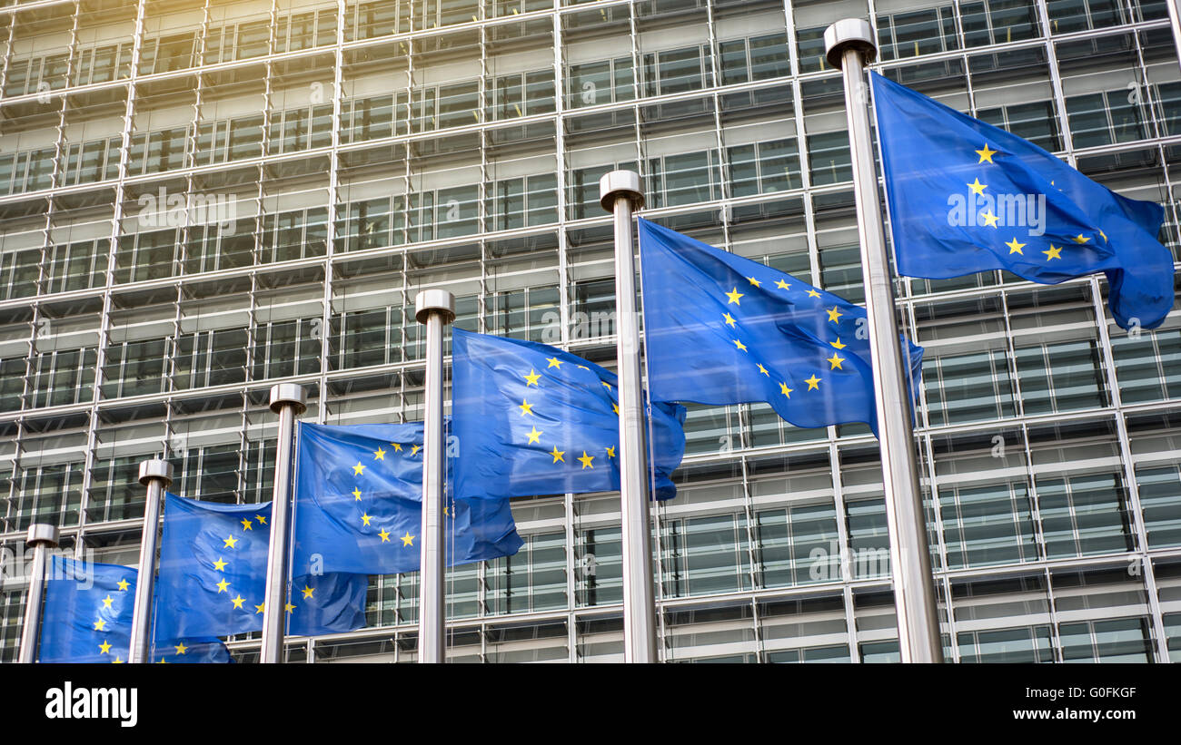 European Union flags in front of the Berlaymont - Stock Image