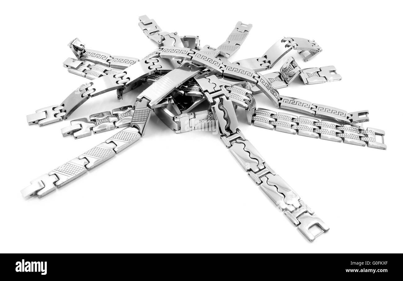 Stainless steel bracelet - Stock Image
