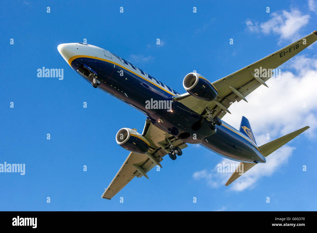 Plane Boeing 737 Ryanair approaching for a landing Prague, Czech Republic - Stock Image