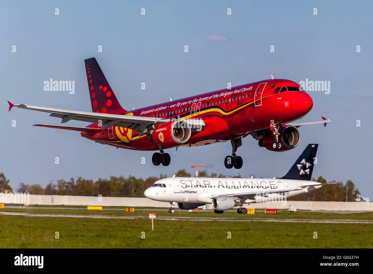 Plane Airbus A320 Brussels Airlines in Color Values Belgian football Red Devils approaching for a landing, Prague - Stock Image
