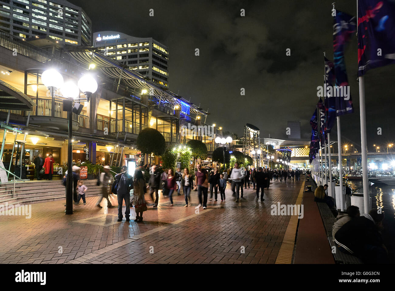 Darling Harbour at night, Sydney, New South Wales, Australia - Stock Image